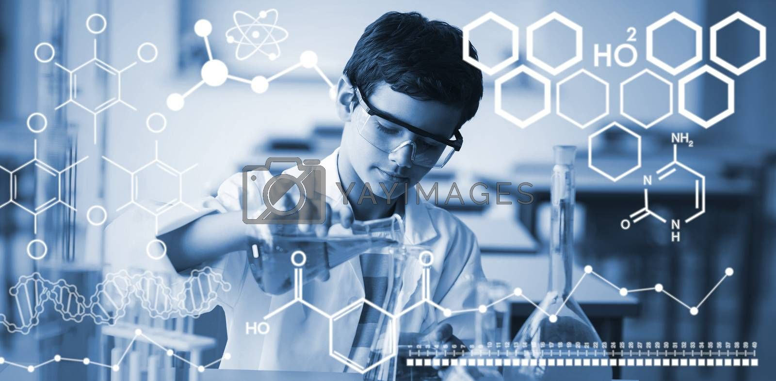 Composite image of digital image of chemical structure by Wavebreakmedia