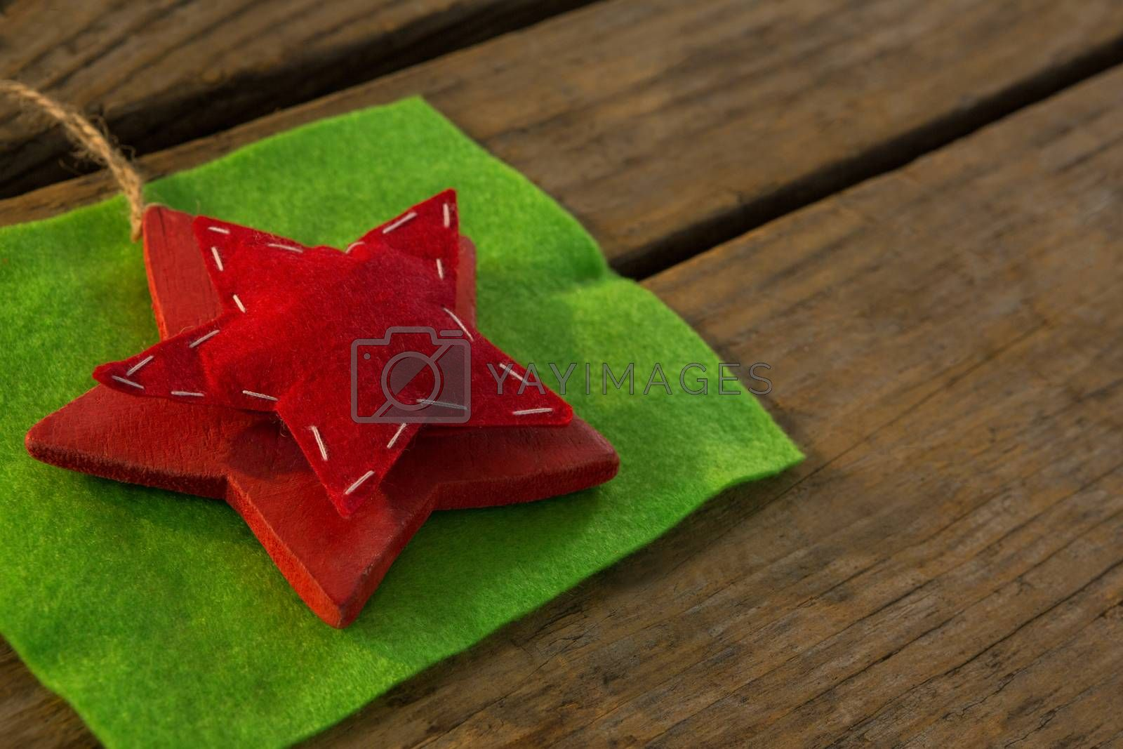 High angle view of star shape decoration of fabric by Wavebreakmedia