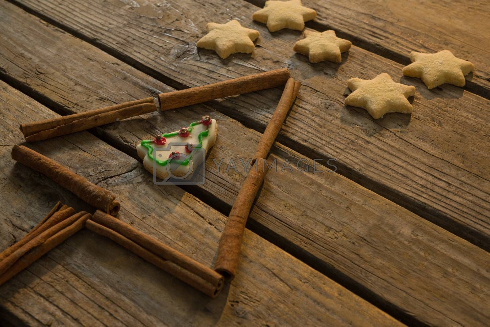 Close up of star shape cookies by Christmas tree made with cinnamon stick by Wavebreakmedia