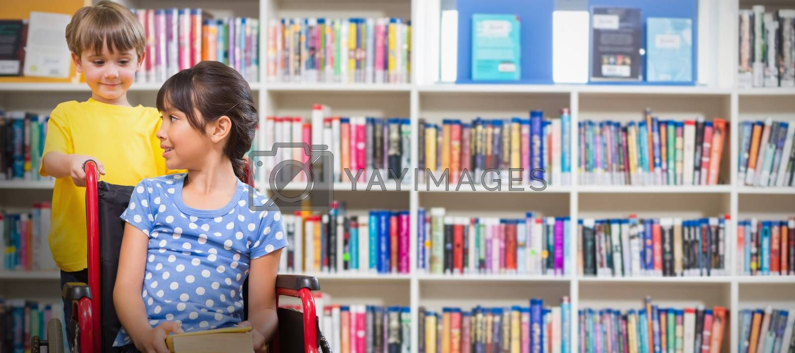 Composite image of cute pupils at the library  by Wavebreakmedia