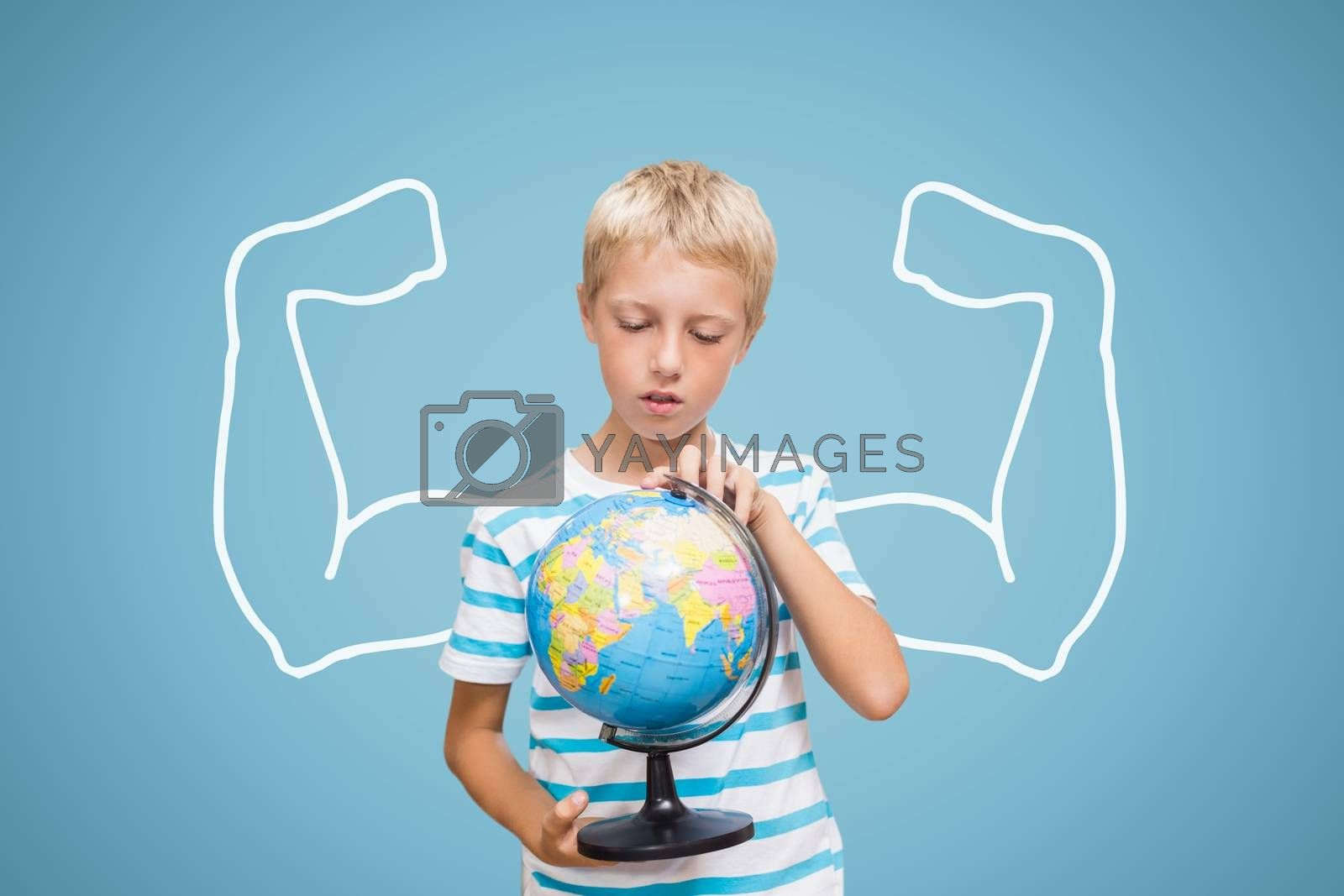 Student boy with fists graphic holding a globe against blue background by Wavebreakmedia