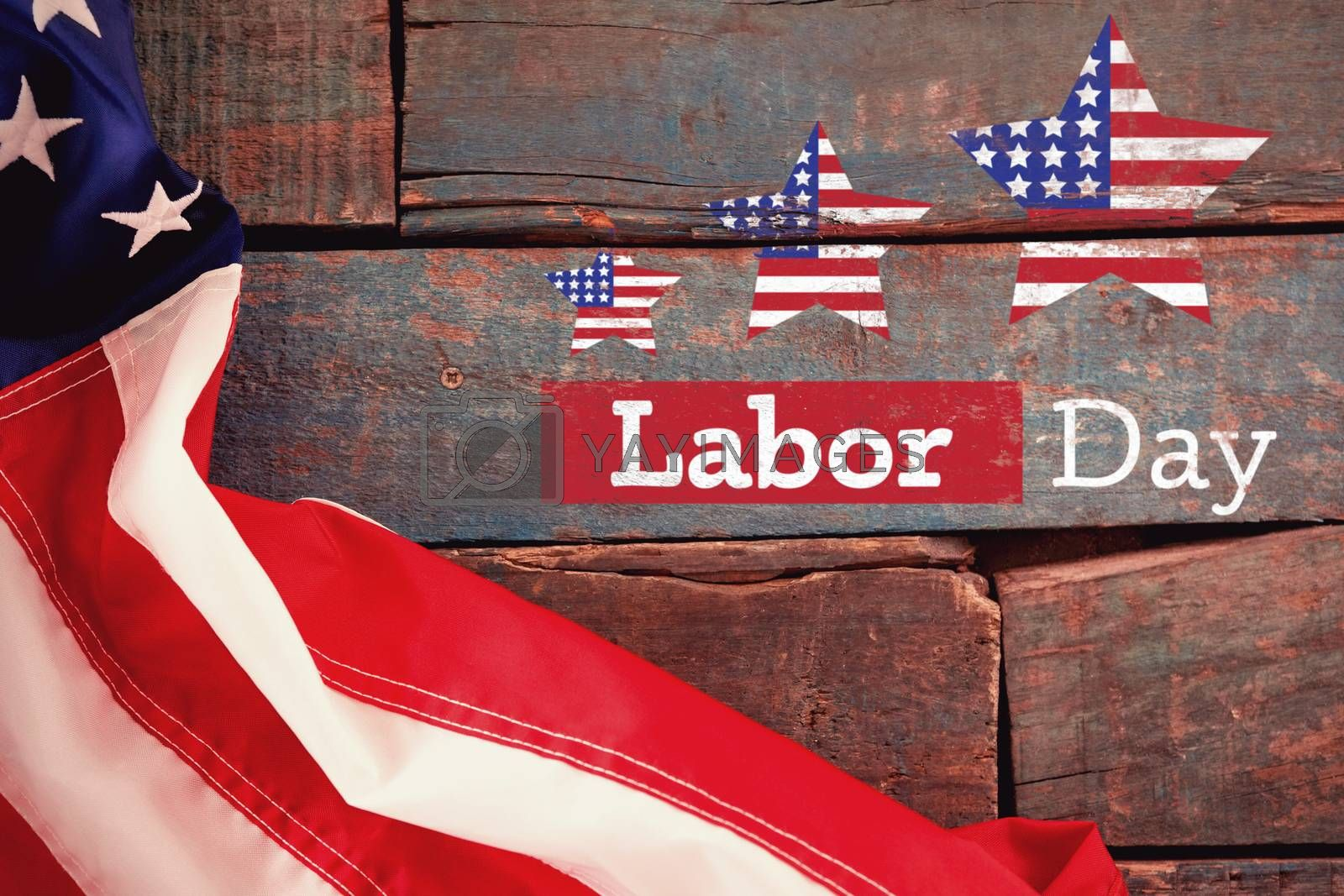 Composite image of composite image of labor day text with star shapes american flag by Wavebreakmedia