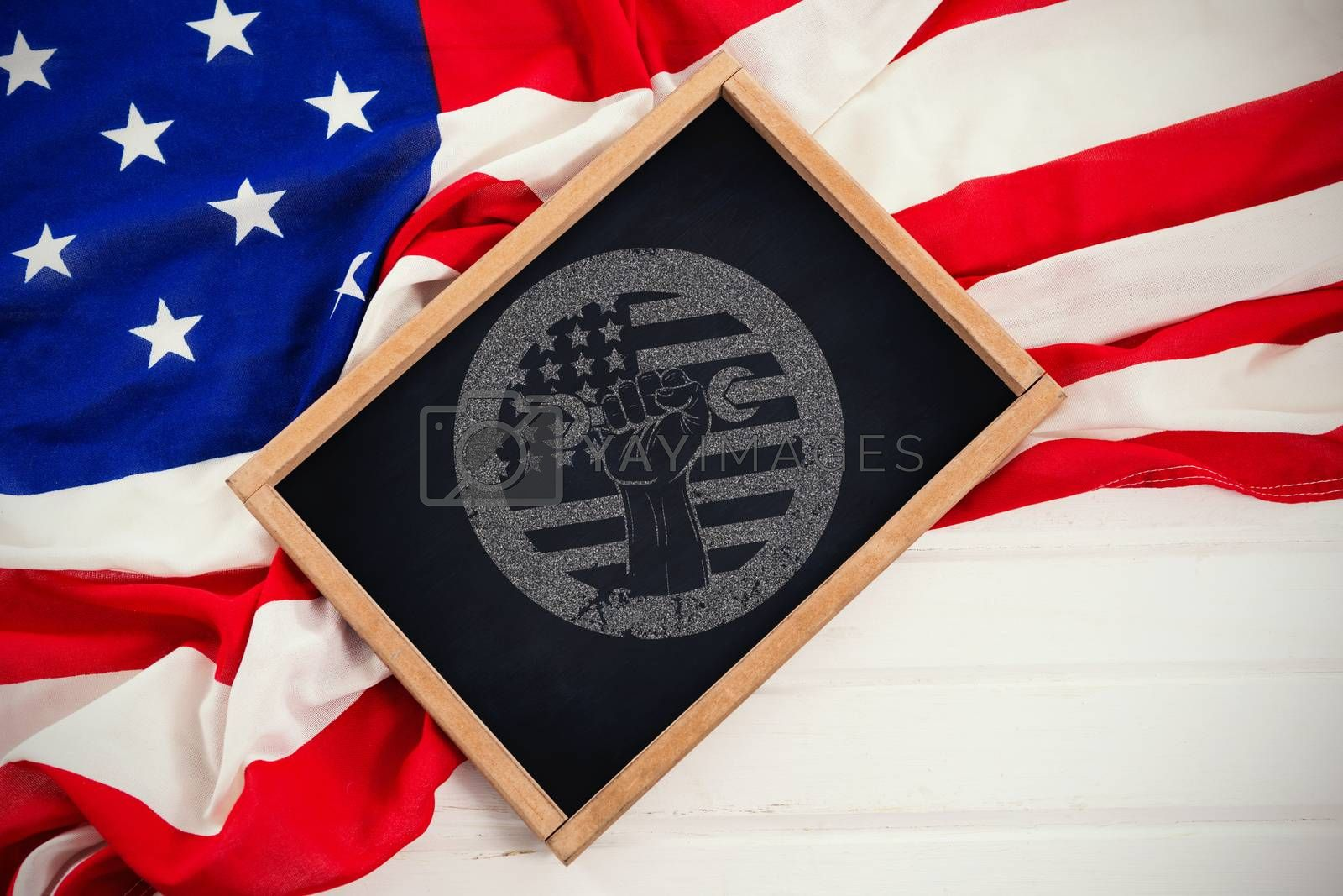 Composite image of cropped hand holding tool and american flag on red poster by Wavebreakmedia