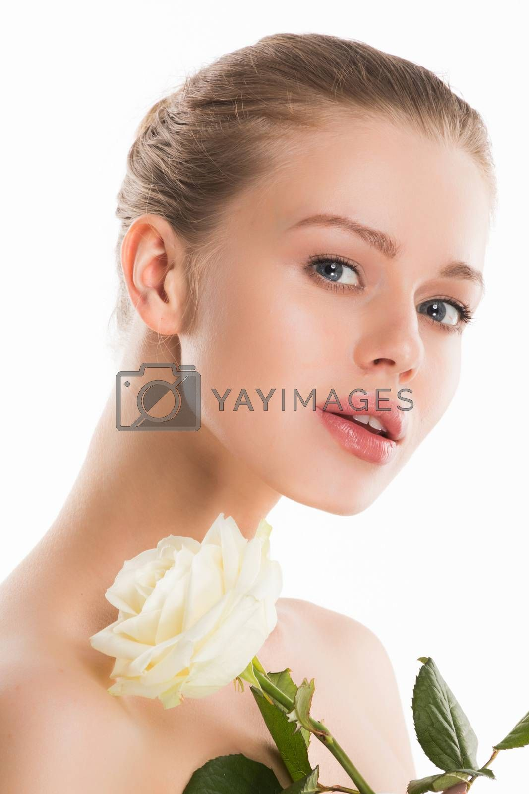 Portrait of attractive caucasian woman holding white isolated on white studio shot purity natural skincare concept