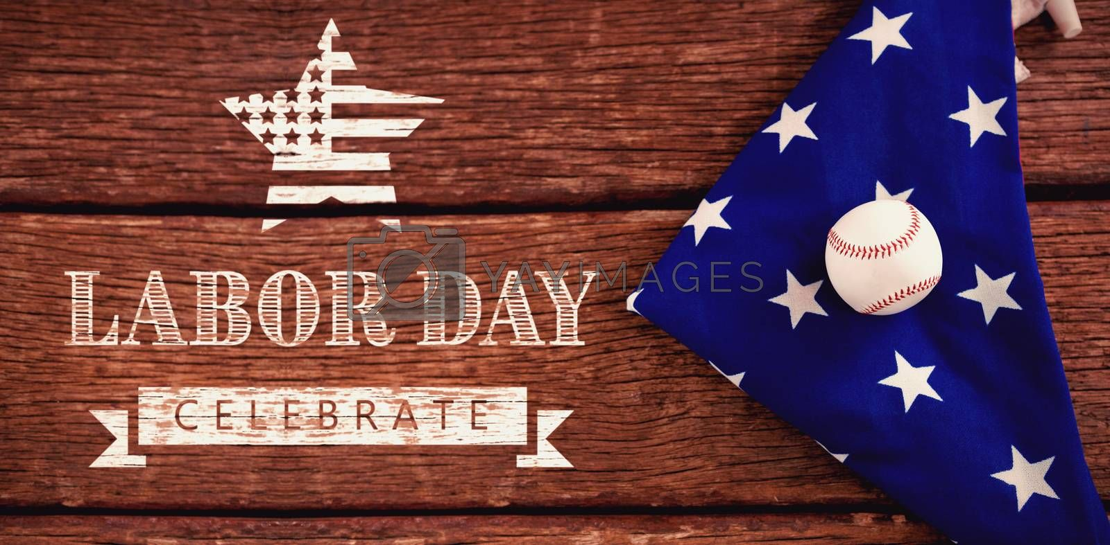 Composite image of labor day celebrate text and star shape american flag by Wavebreakmedia
