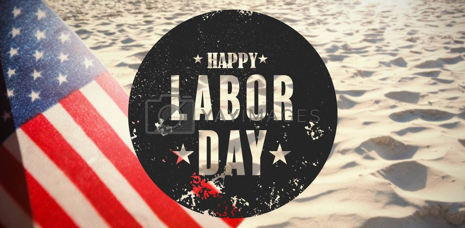 Composite image of digital composite image of happy labor day text poster by Wavebreakmedia