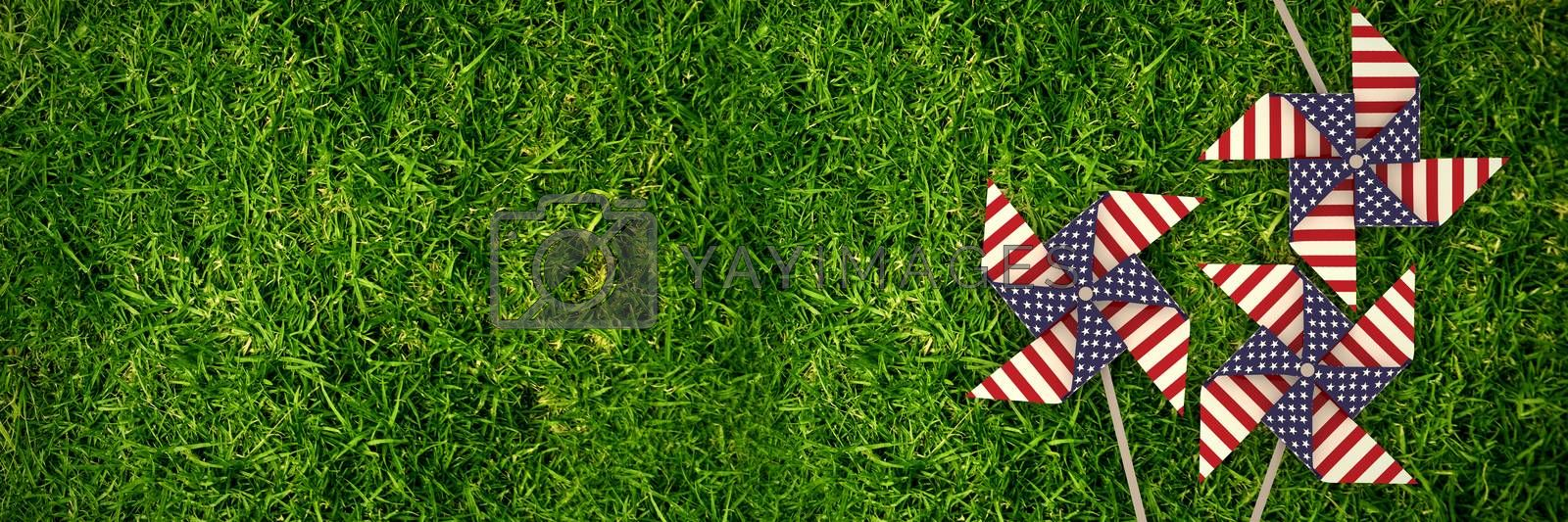 Composite image of 3d image of pinwheel toy with american flag pattern by Wavebreakmedia