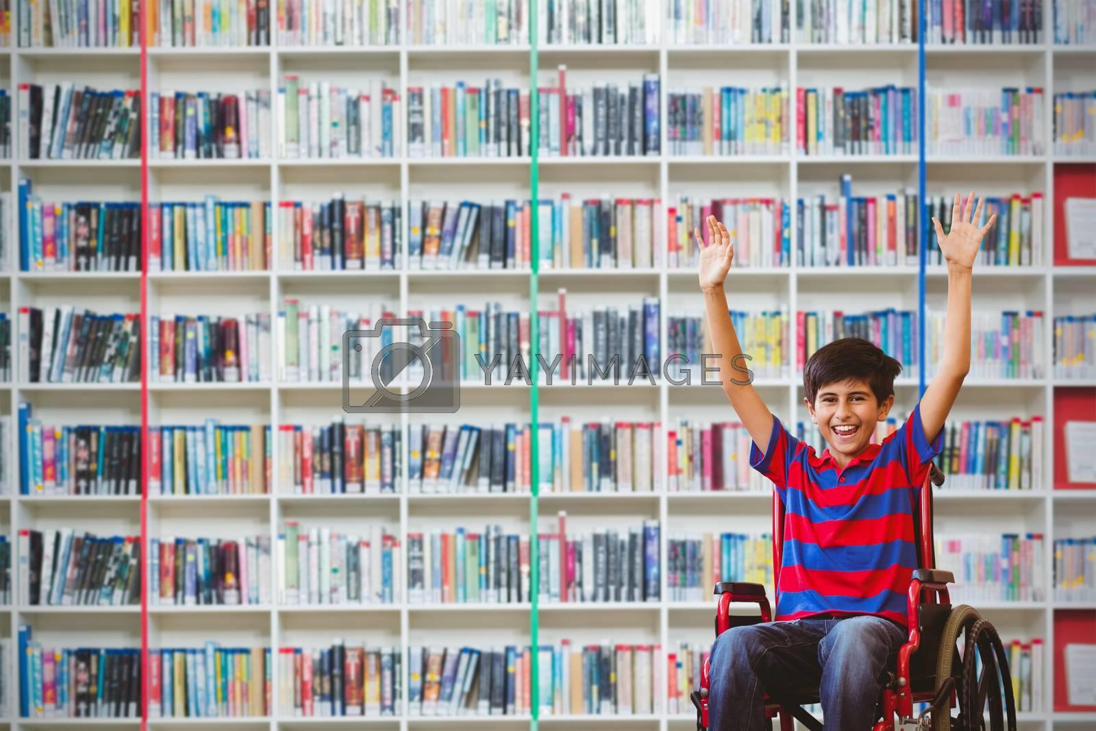 Composite image of boy in wheelchair in school corridor by Wavebreakmedia