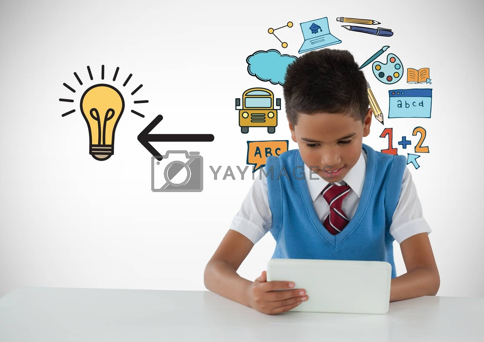 Schoolboy on tablet with education light bulb graphics by Wavebreakmedia