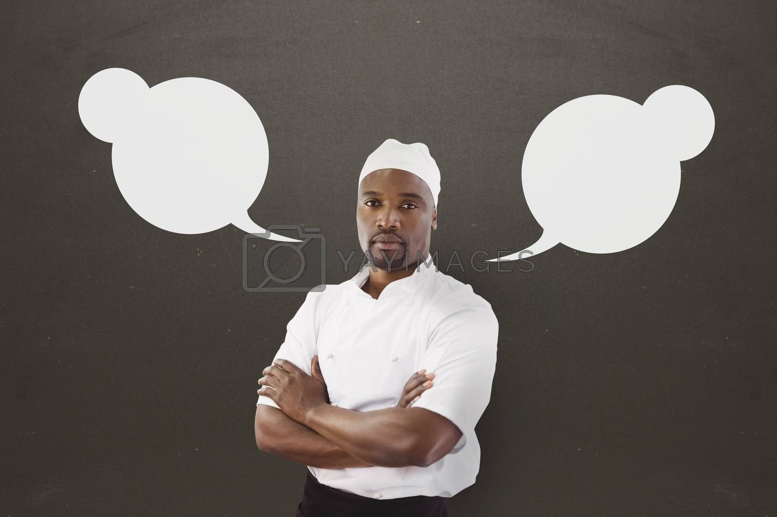 Chef man with speech bubble against grey background by Wavebreakmedia
