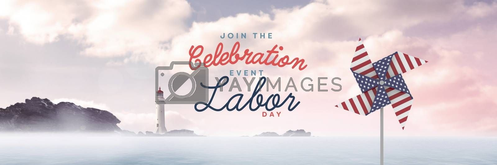 Celebration labor day text and USA wind catcher in front of sea and lighthouse by Wavebreakmedia