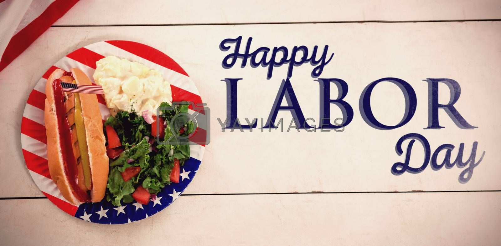 Composite image of poster of happy labor day text by Wavebreakmedia