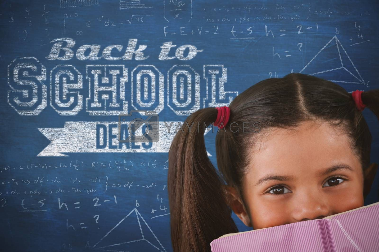 Composite image of schoolgirl covering mouth with book by Wavebreakmedia