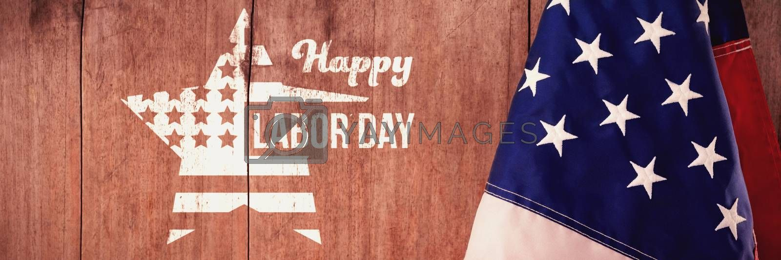 Composite image of composite image of happy labor day text and star shape american flag by Wavebreakmedia