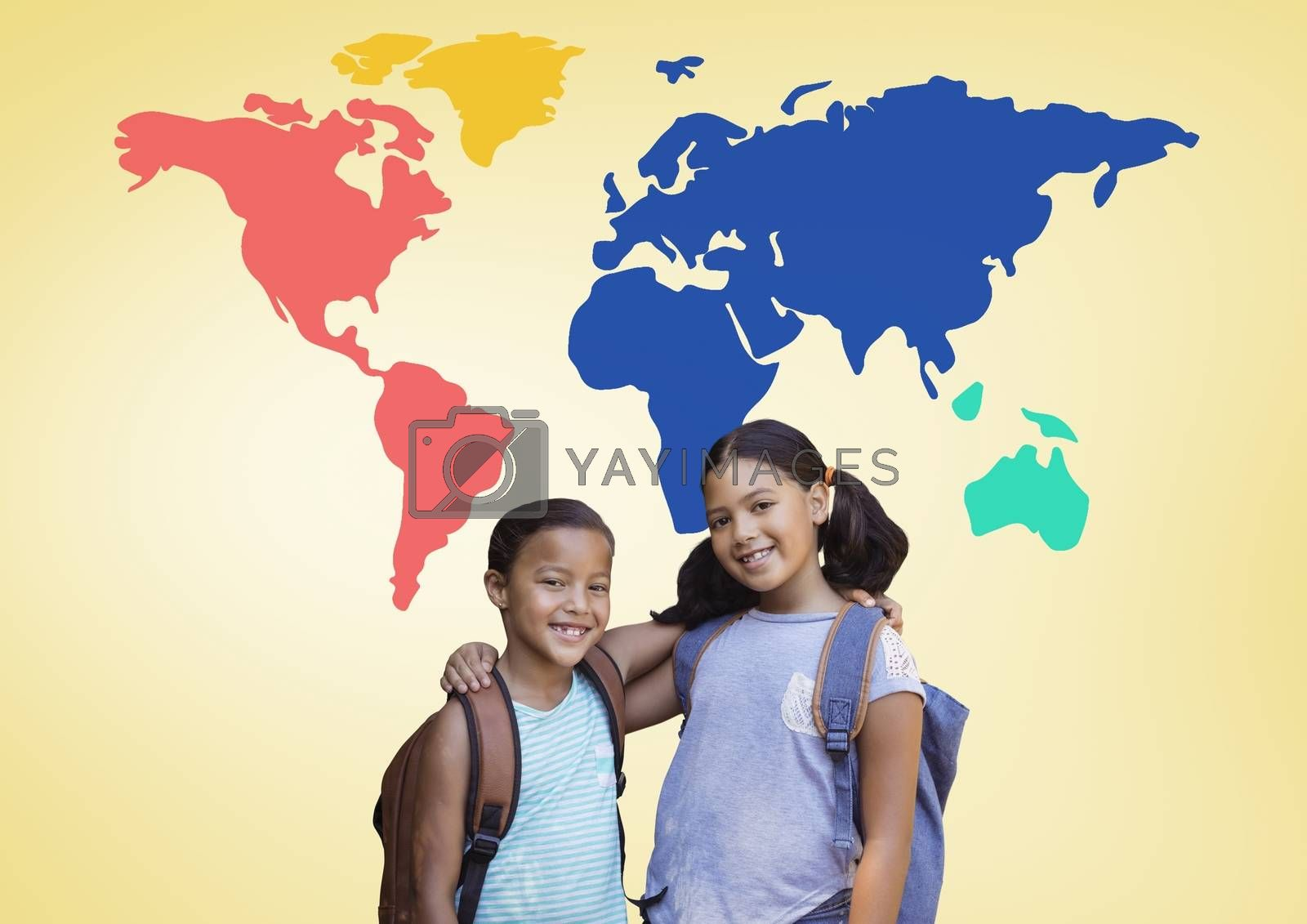 School Kids hugging in front of colorful world map by Wavebreakmedia
