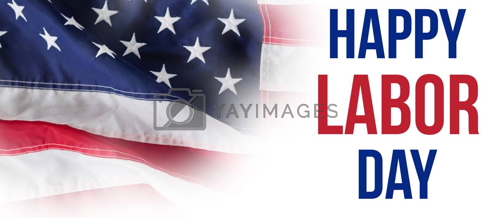 Composite image of digital composite image of happy labor day text with tools by Wavebreakmedia