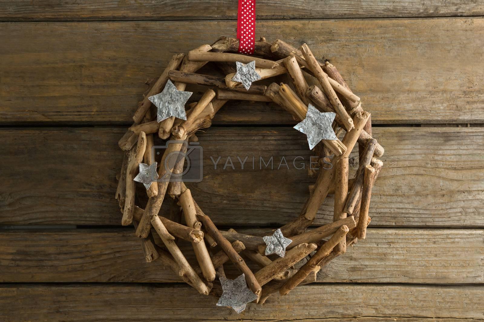 Overhead view of wooden wreath by Wavebreakmedia