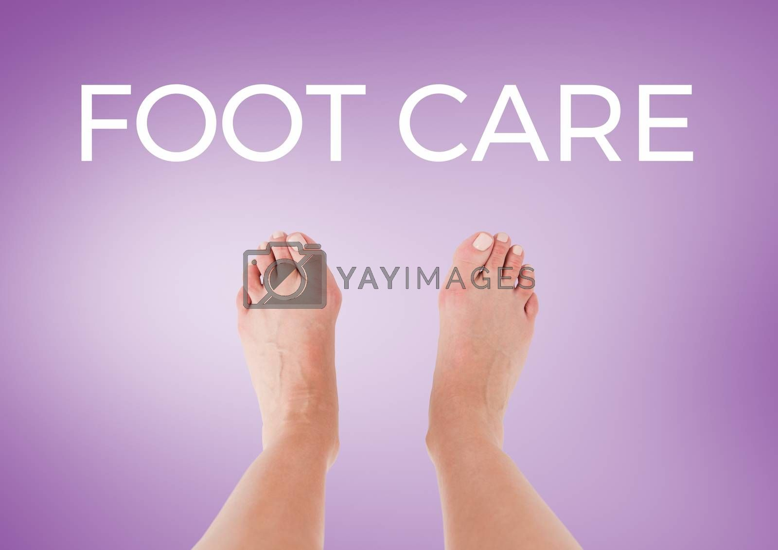 Foot Care text  and bare feet with purple background by Wavebreakmedia