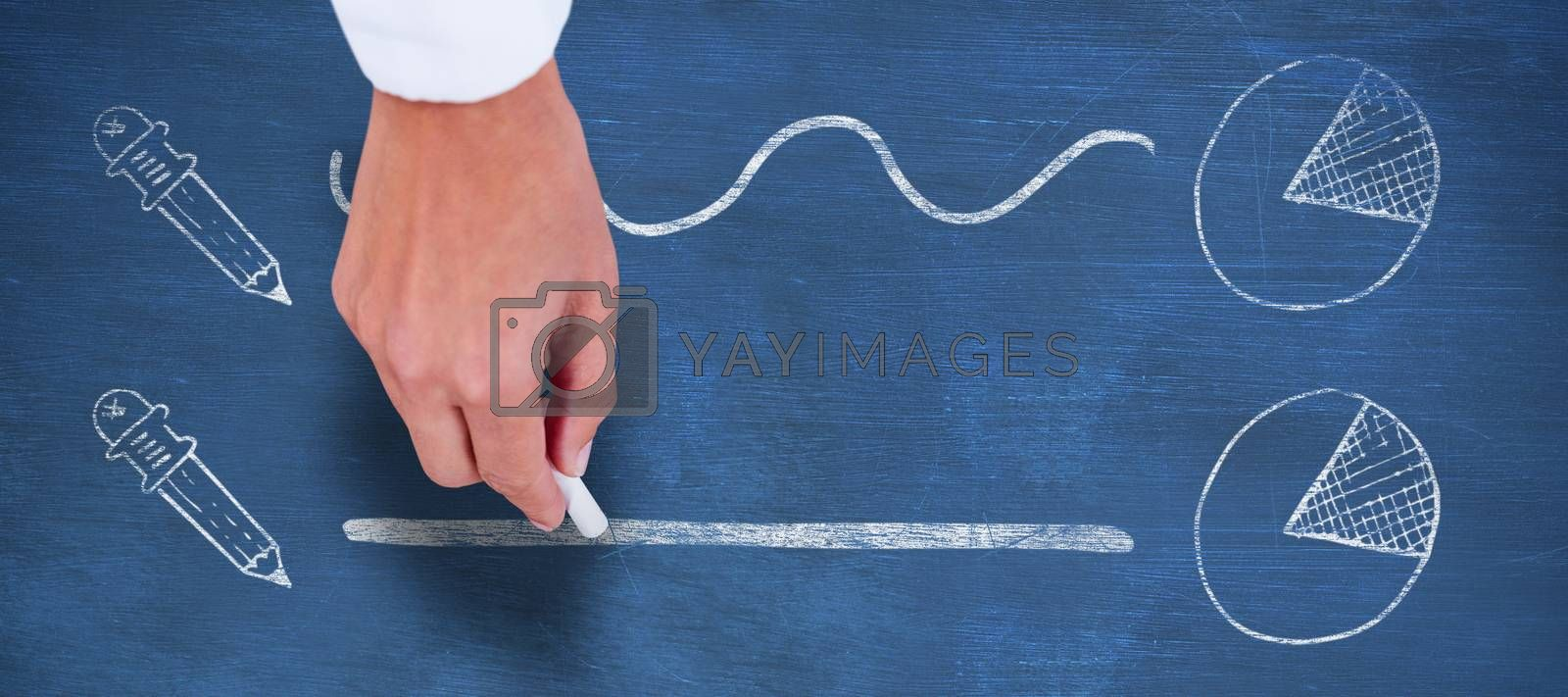 Composite image of cropped hand holding chalk by Wavebreakmedia