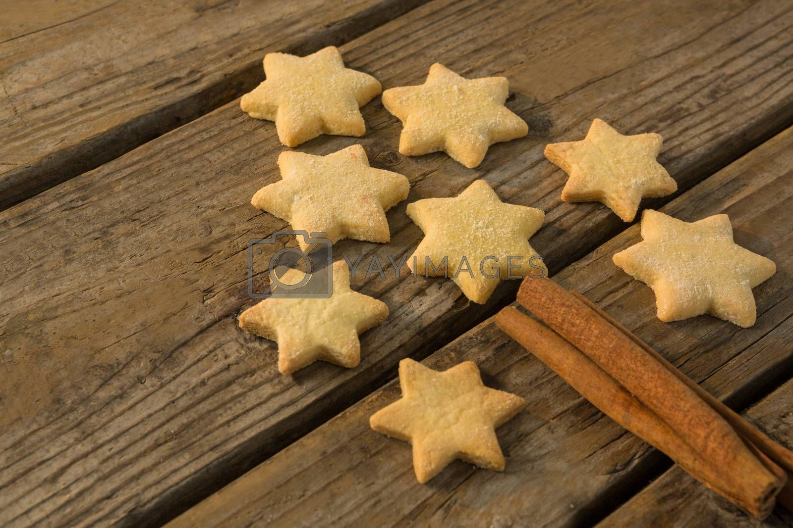 Close up of Christmas tree made with star shape cookie and cinnamon stick by Wavebreakmedia