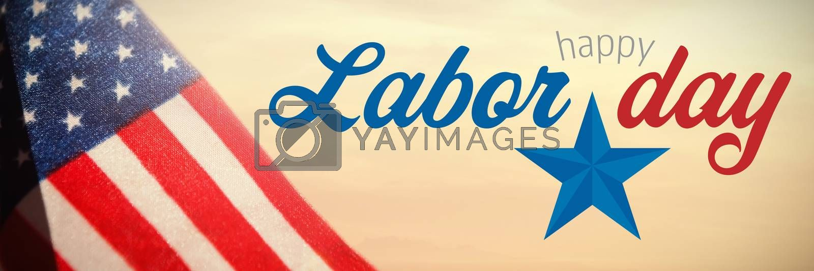 Composite image of digital composite image of happy labor day text with star shape by Wavebreakmedia