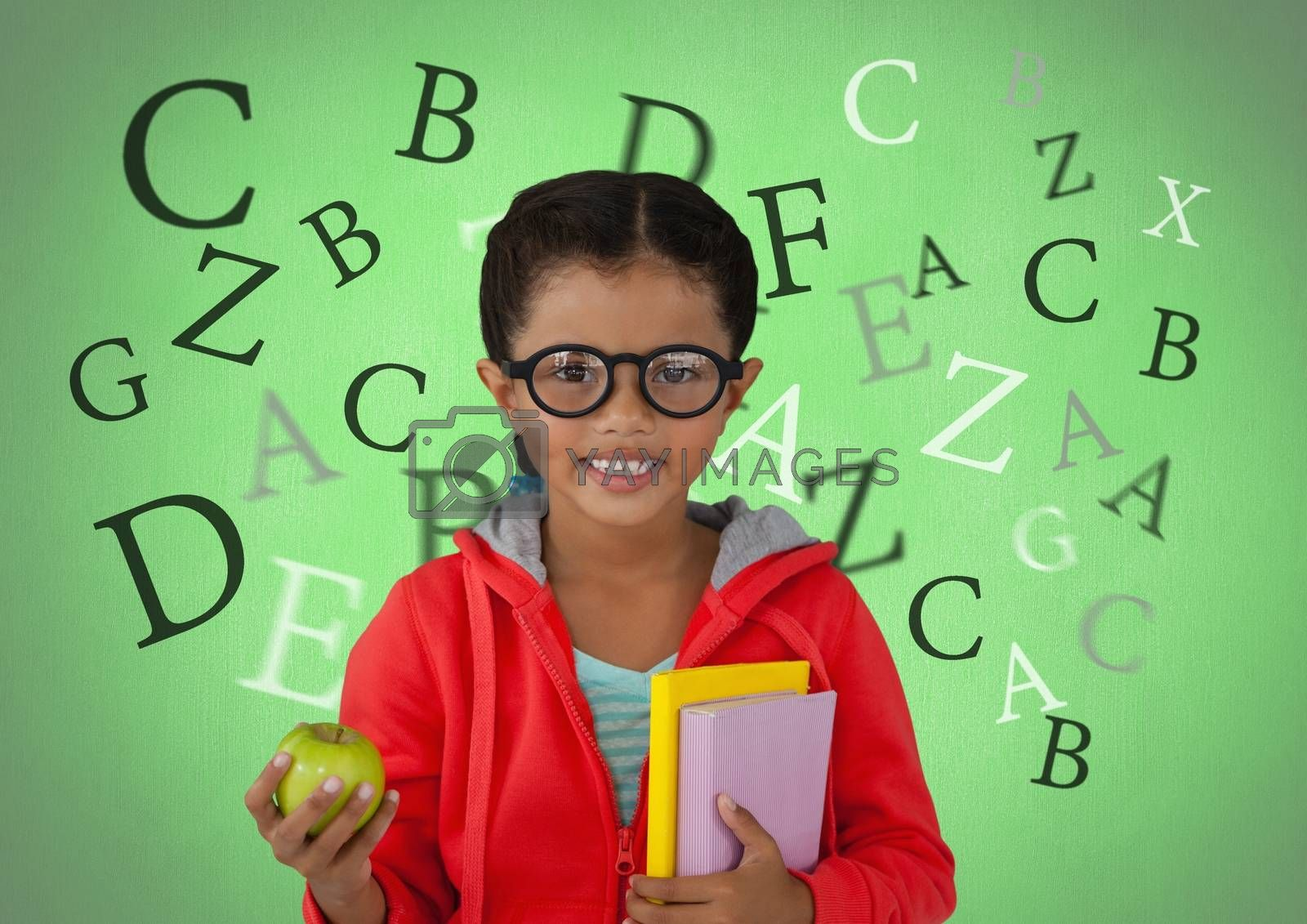 Many letters around Girl with apple and books in front of green background by Wavebreakmedia