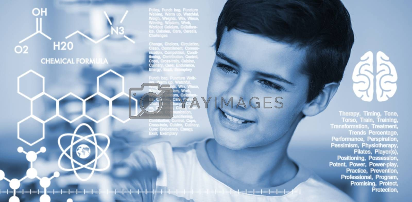 Composite image of graphic image of chemical formulas by Wavebreakmedia