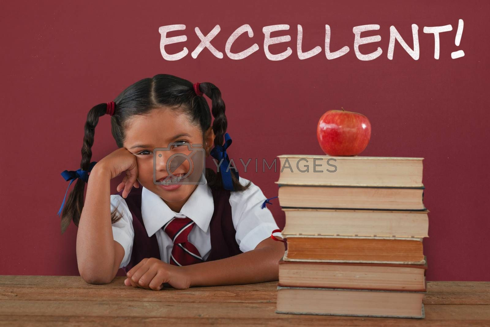Composite image of schoolgirl leaning by books and apple on desk by Wavebreakmedia