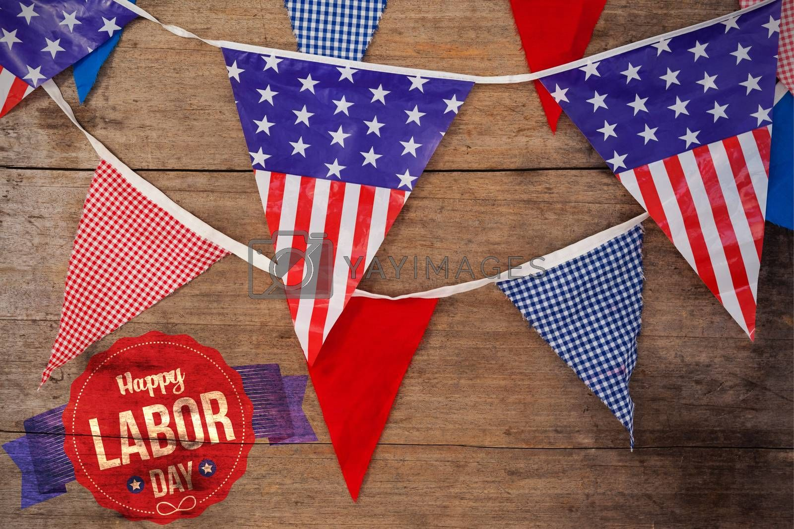 Composite image of happy labor day text in banner by Wavebreakmedia