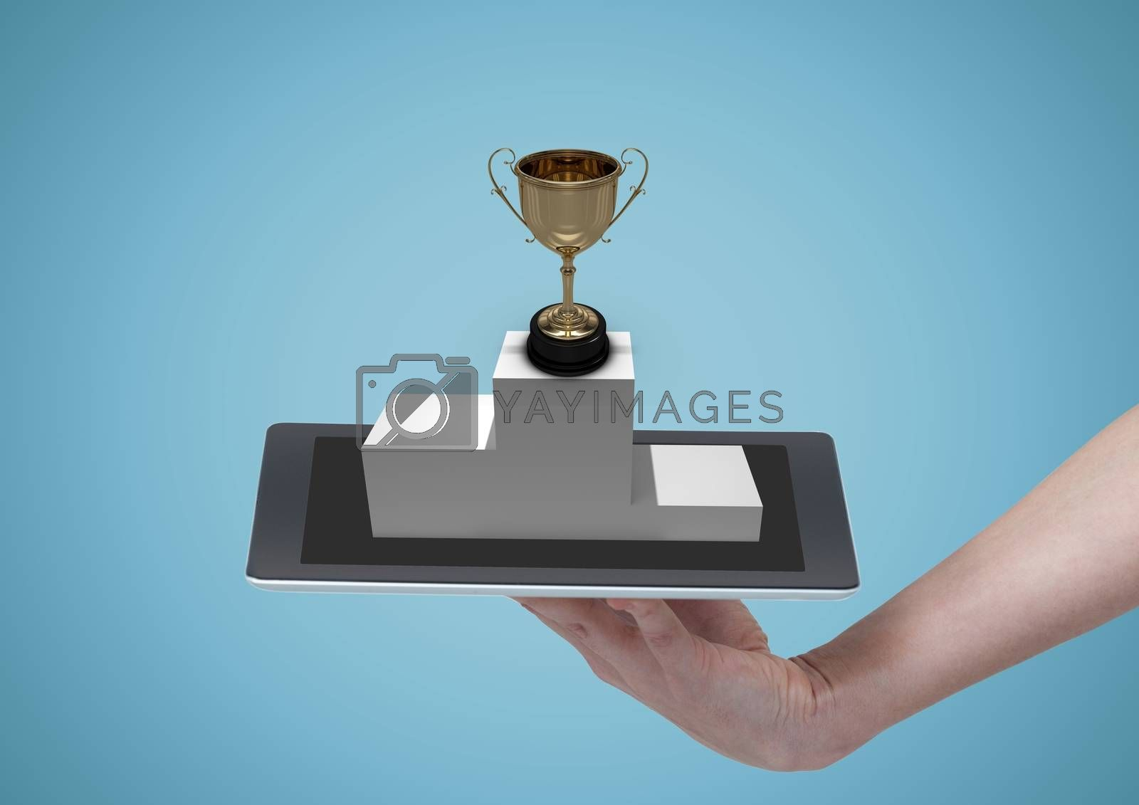 Person holding a tablet with a trophy by Wavebreakmedia
