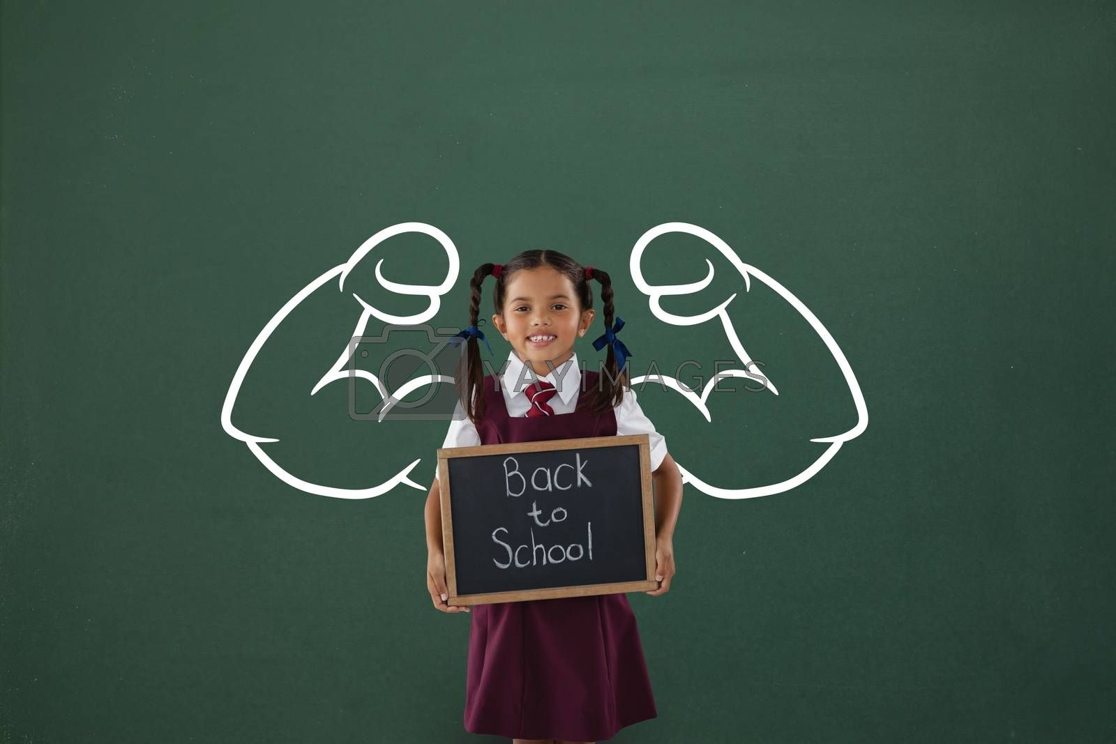 Happy student girl with fists graphic holding a little blackboard against green blackboard by Wavebreakmedia