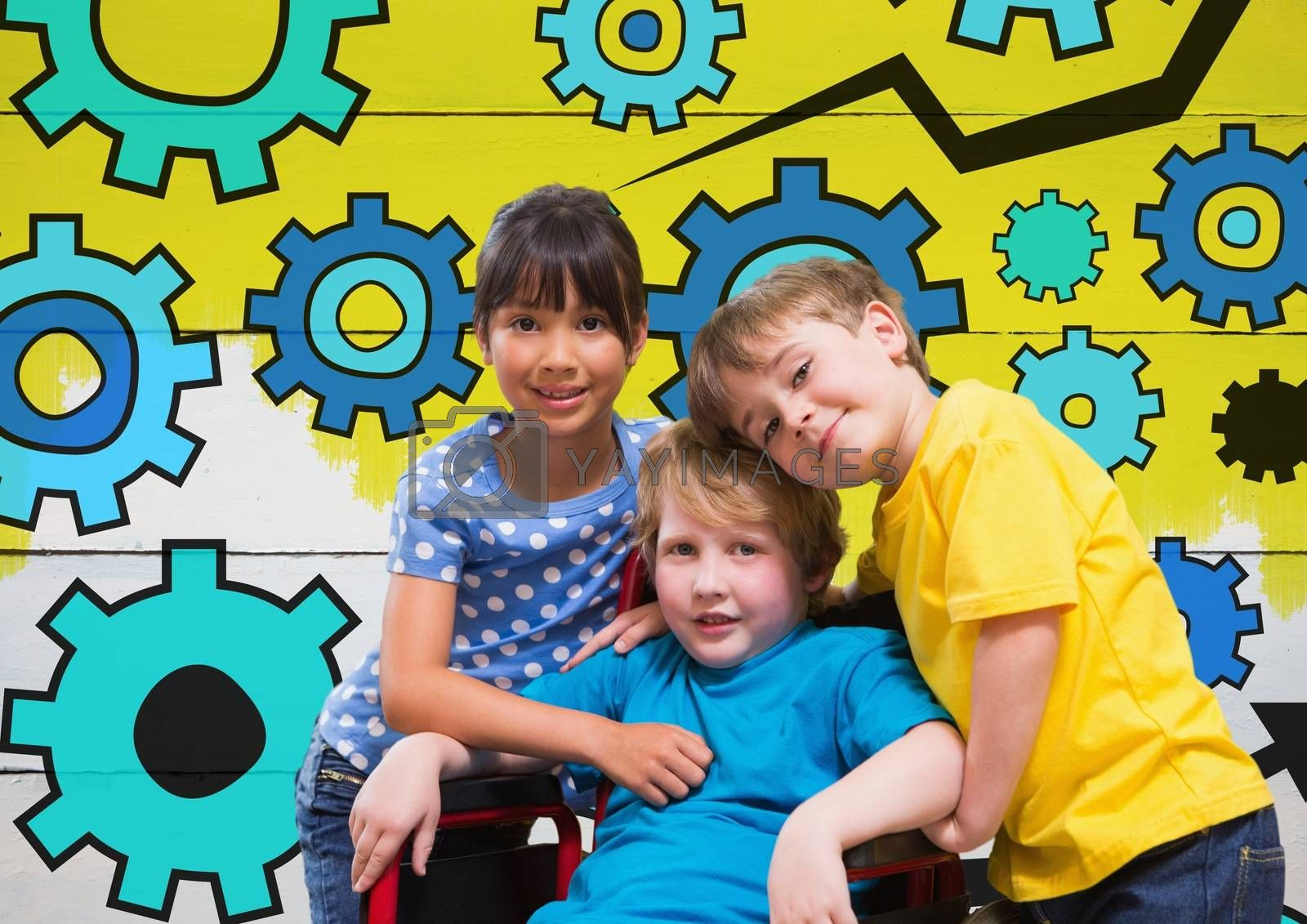 Disabled boy in wheelchair with friends and colorful settings cog gears by Wavebreakmedia