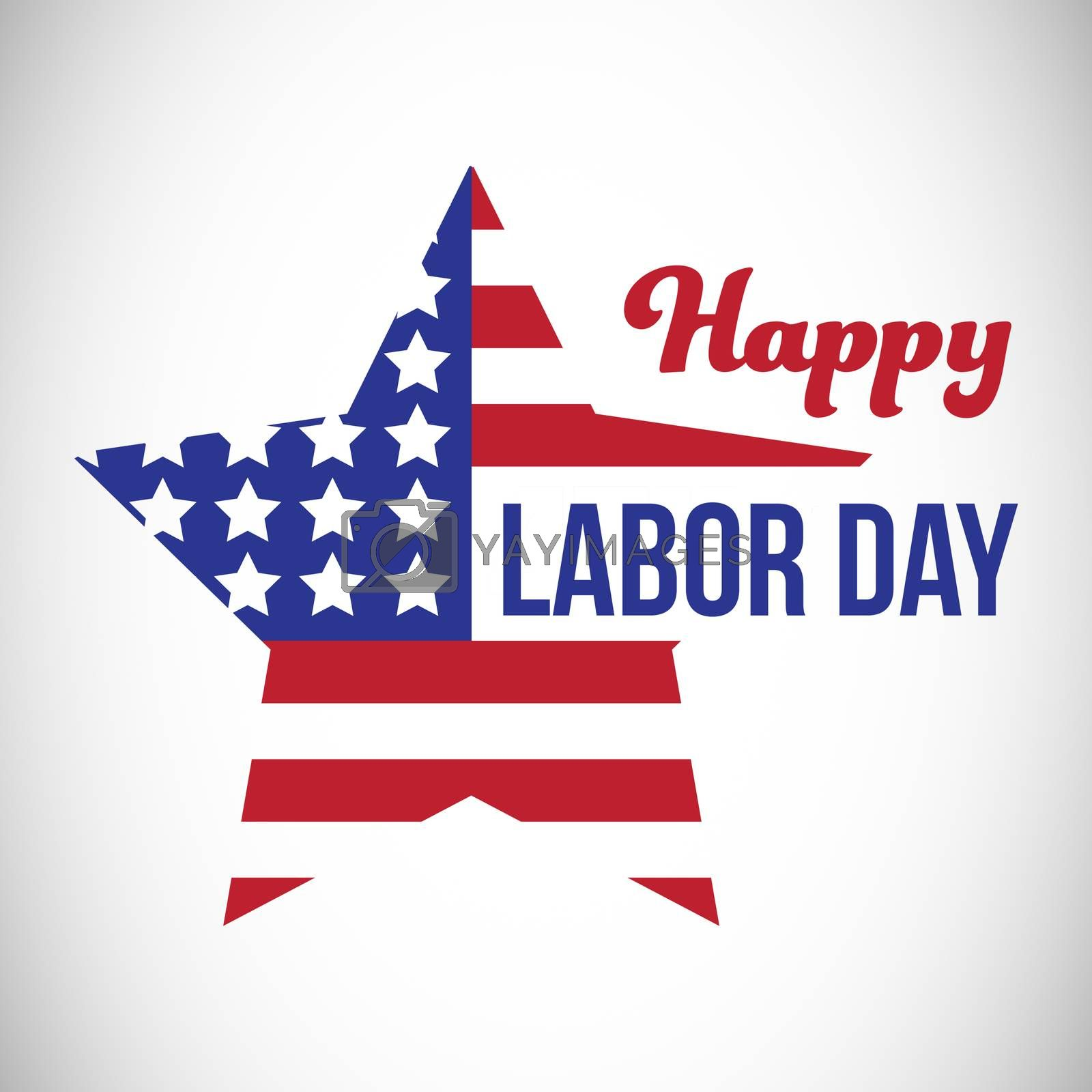 Composite image of happy labor day text and star shape American flag by Wavebreakmedia