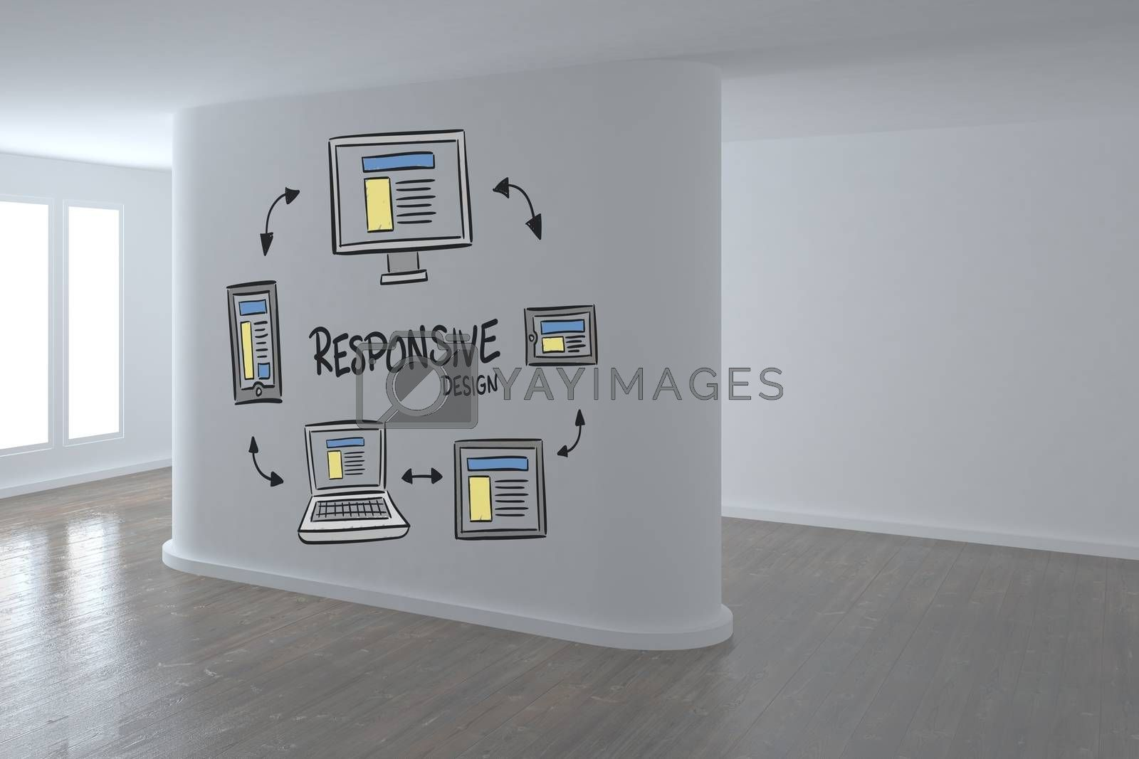 Conceptual graphic on 3D room wall by Wavebreakmedia