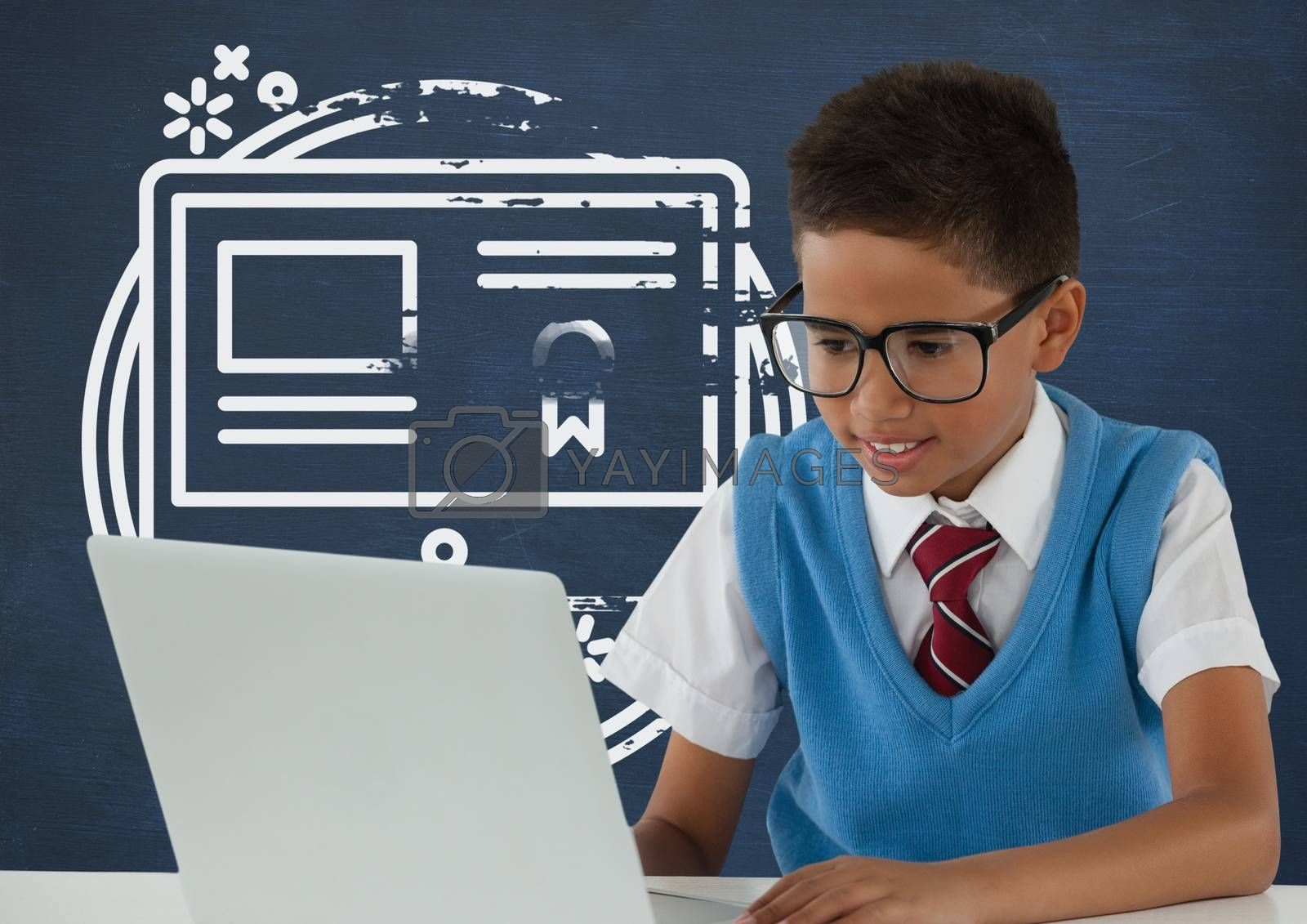Student boy at table looking at a computer against blue blackboard with school and education graphic by Wavebreakmedia