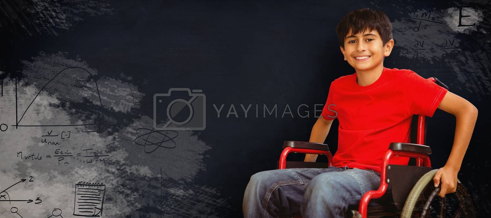 Composite image of portrait of boy sitting in wheelchair by Wavebreakmedia