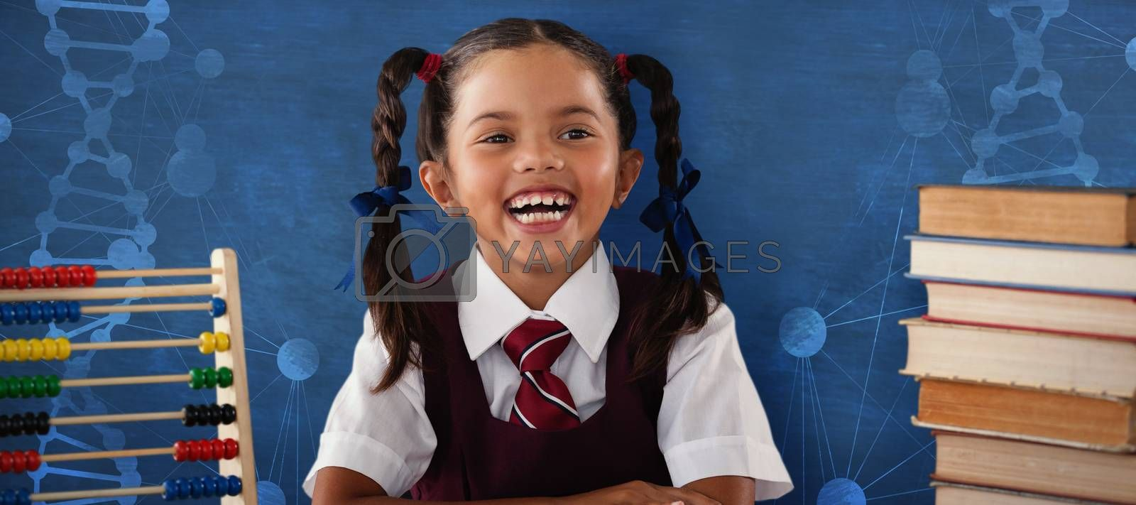Composite image of cheerful schoolgirl with stack of books  by Wavebreakmedia