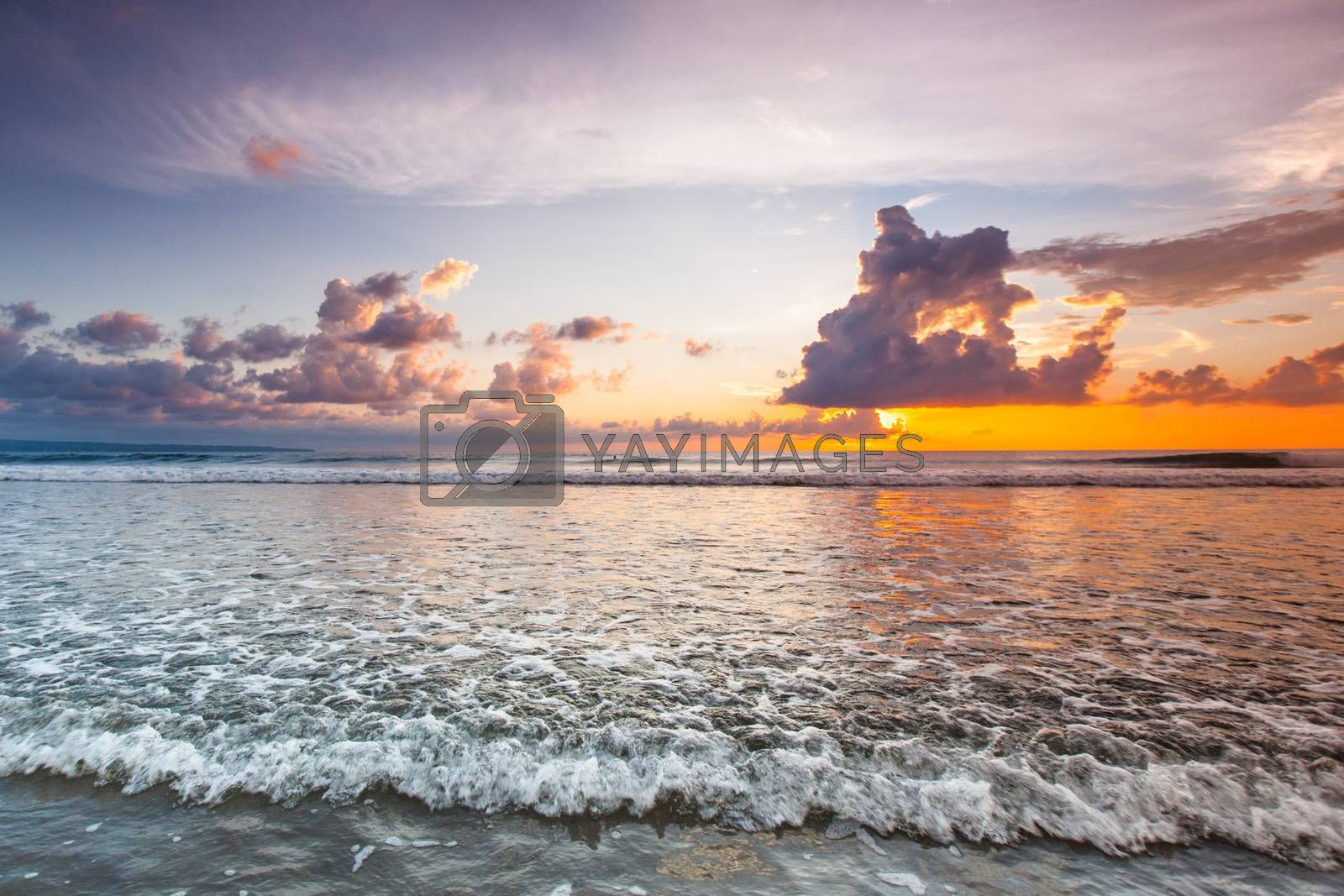 Amazing sunset form Bali Double Six beach surf waves and colorful clouds