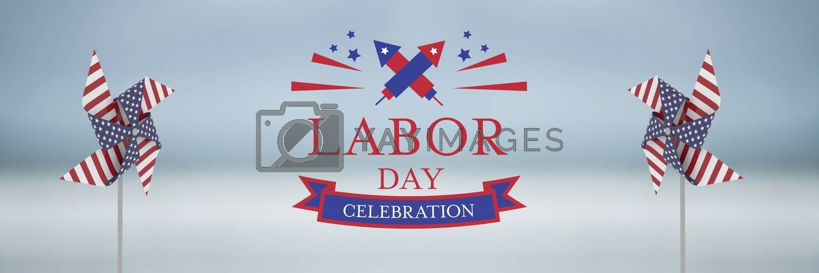 labor day celebration text and USA wind catchers in front of sea by Wavebreakmedia