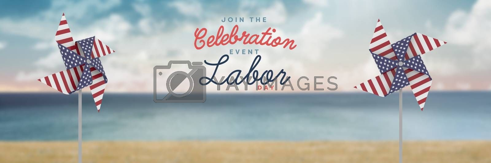 Celebration labor day text and USA wind catchers in front of sea by Wavebreakmedia