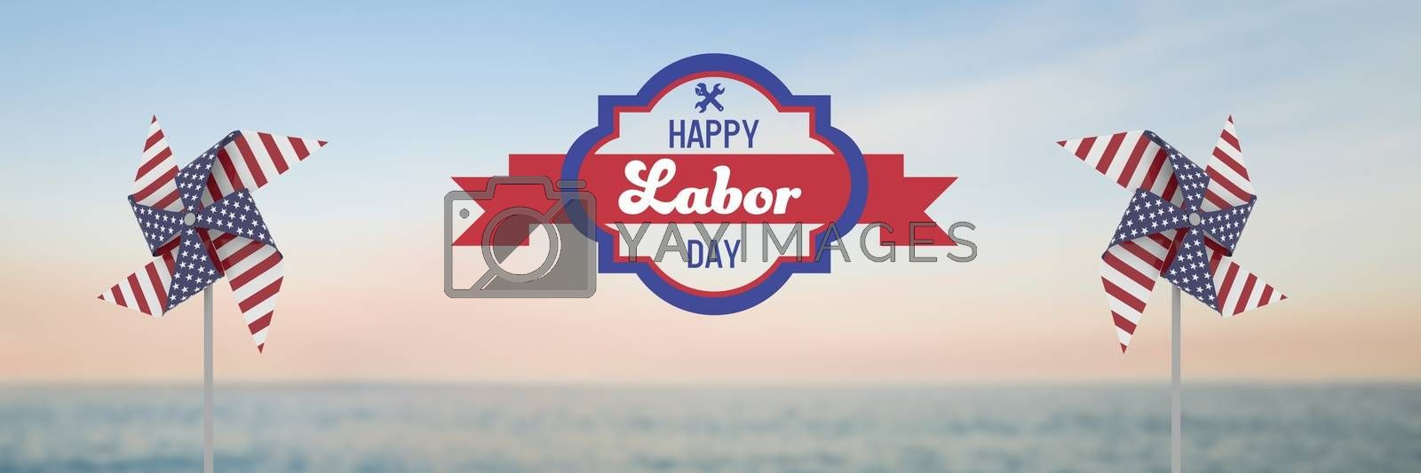 Happy labor day text and USA wind catchers in front of sea by Wavebreakmedia