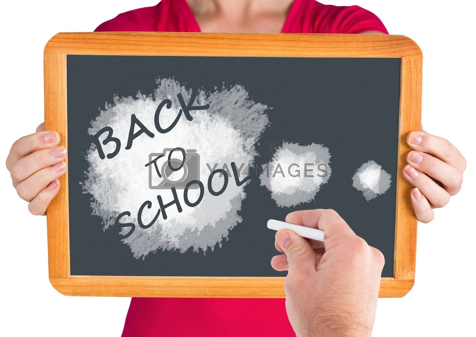 Digital composite of Hand writing Back to school text on blackboard