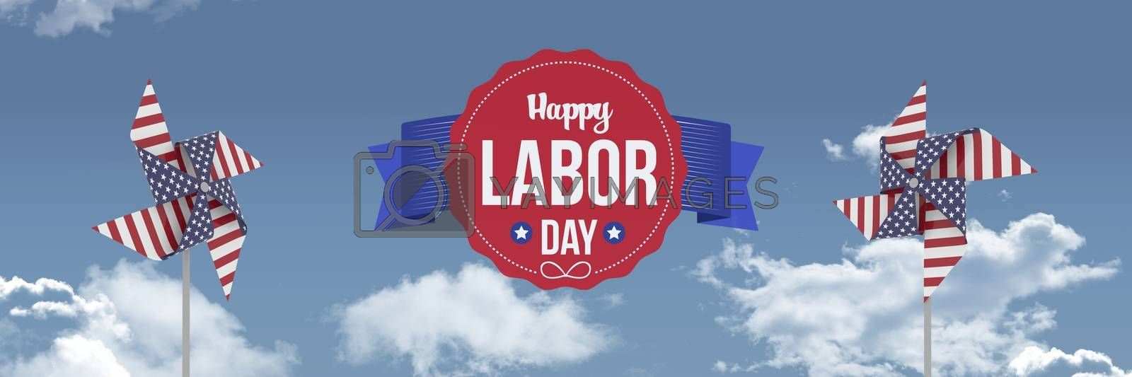 Happy labor day text and USA wind catchers in front of sky by Wavebreakmedia