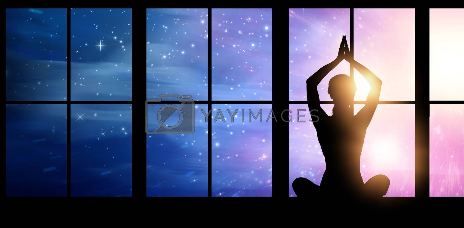 Silhouette female practicing yoga while sitting against digitally composite image of colorful lights