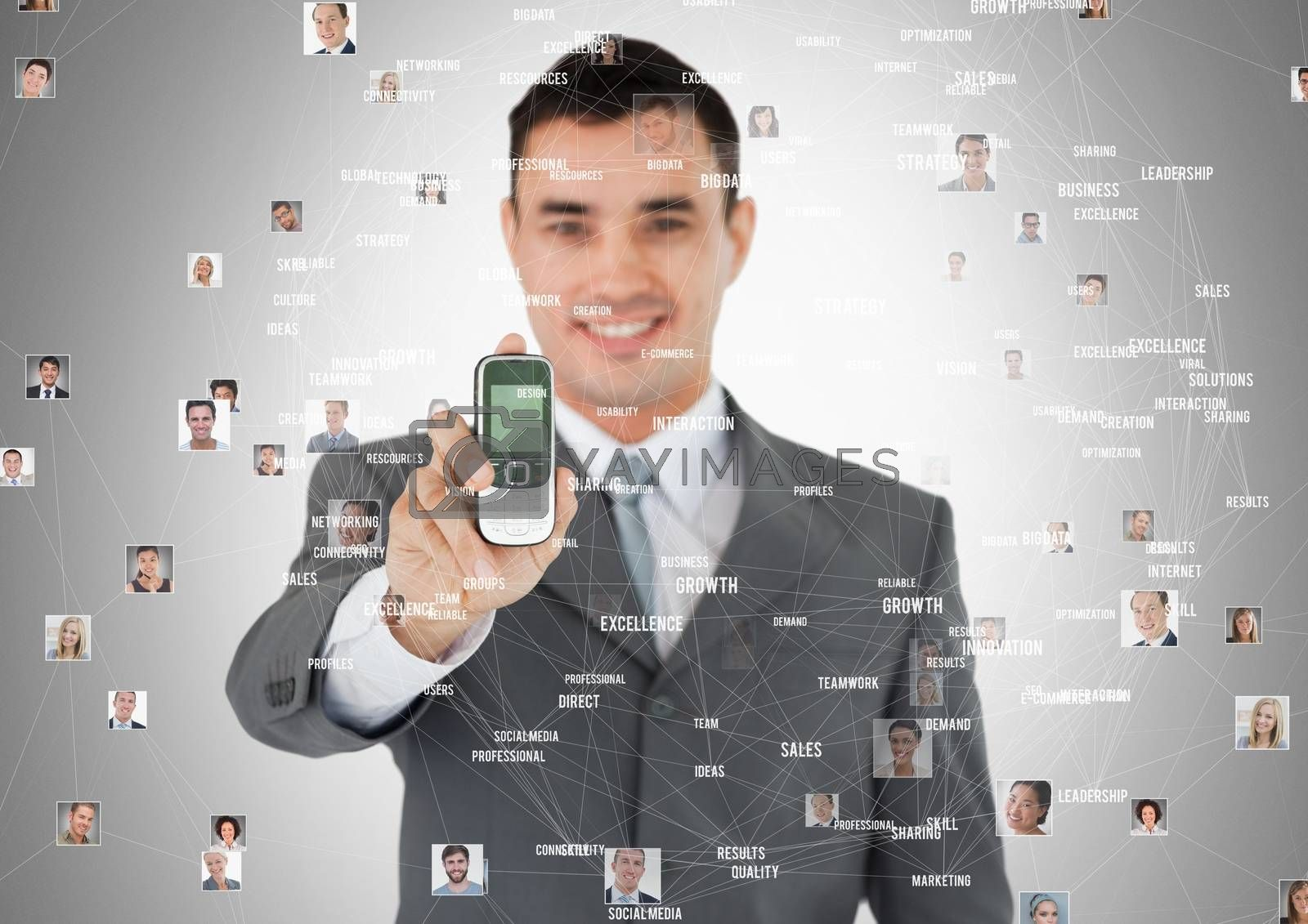 Digital composite of Man holding phone with Profile portraits of people contacts