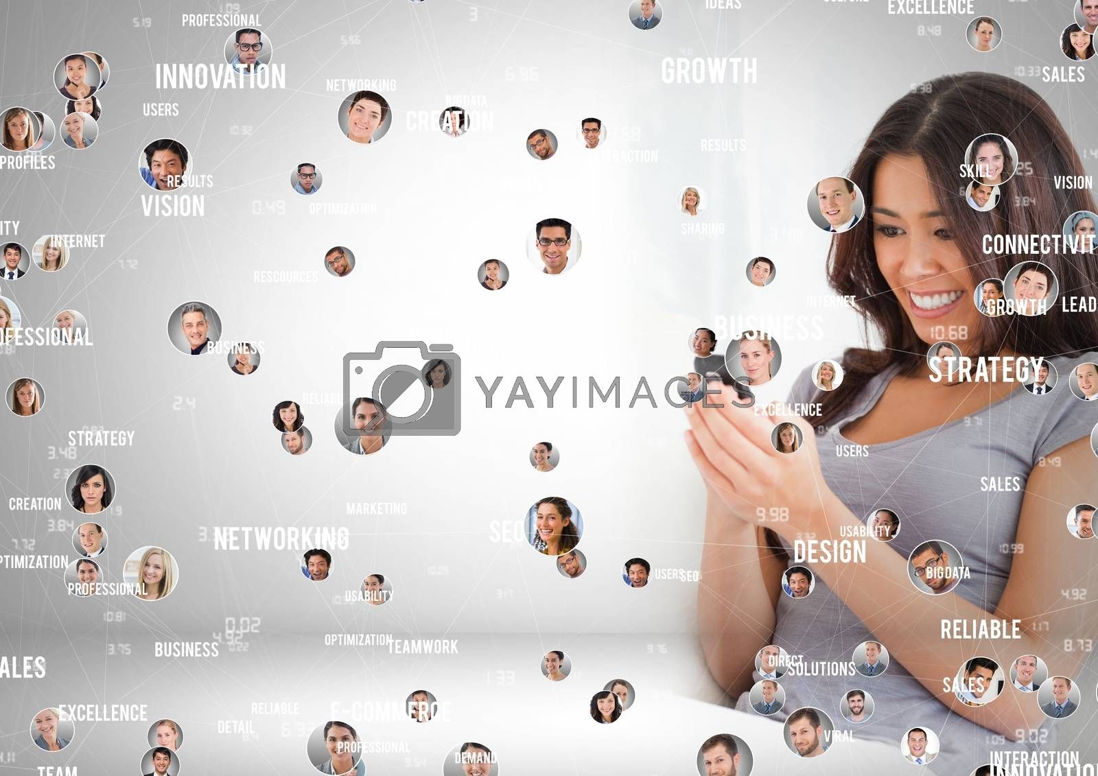 Digital composite of Woman holding phone with Profile portraits of people contacts