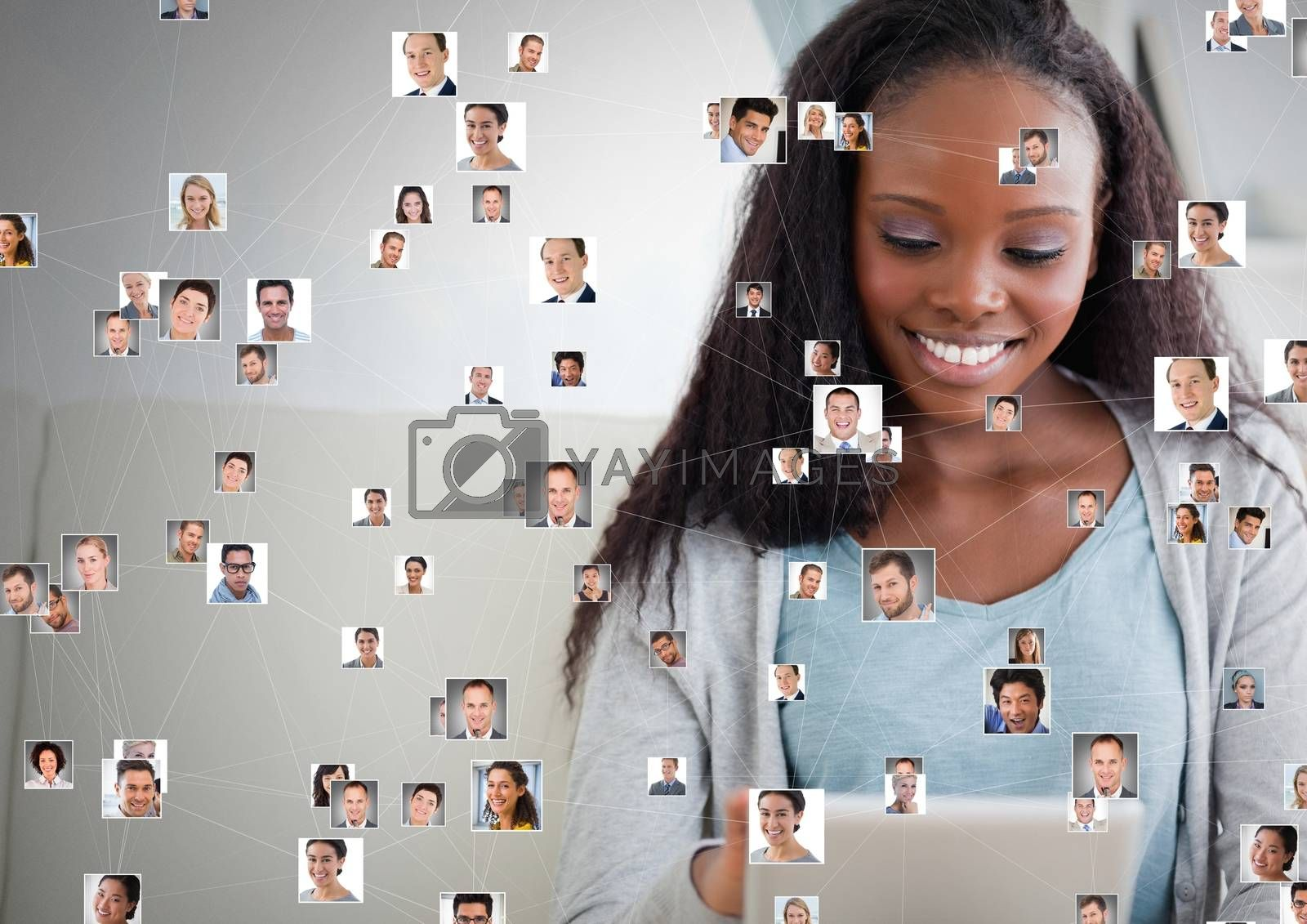 Digital composite of Woman holding tablet with Profile portraits of people contacts