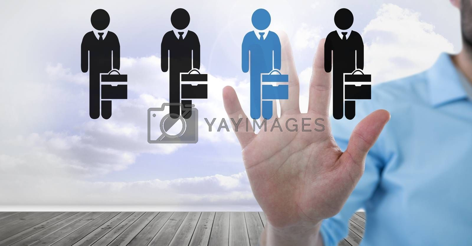 Digital composite of Hand interacting and choosing a person from group of people icons