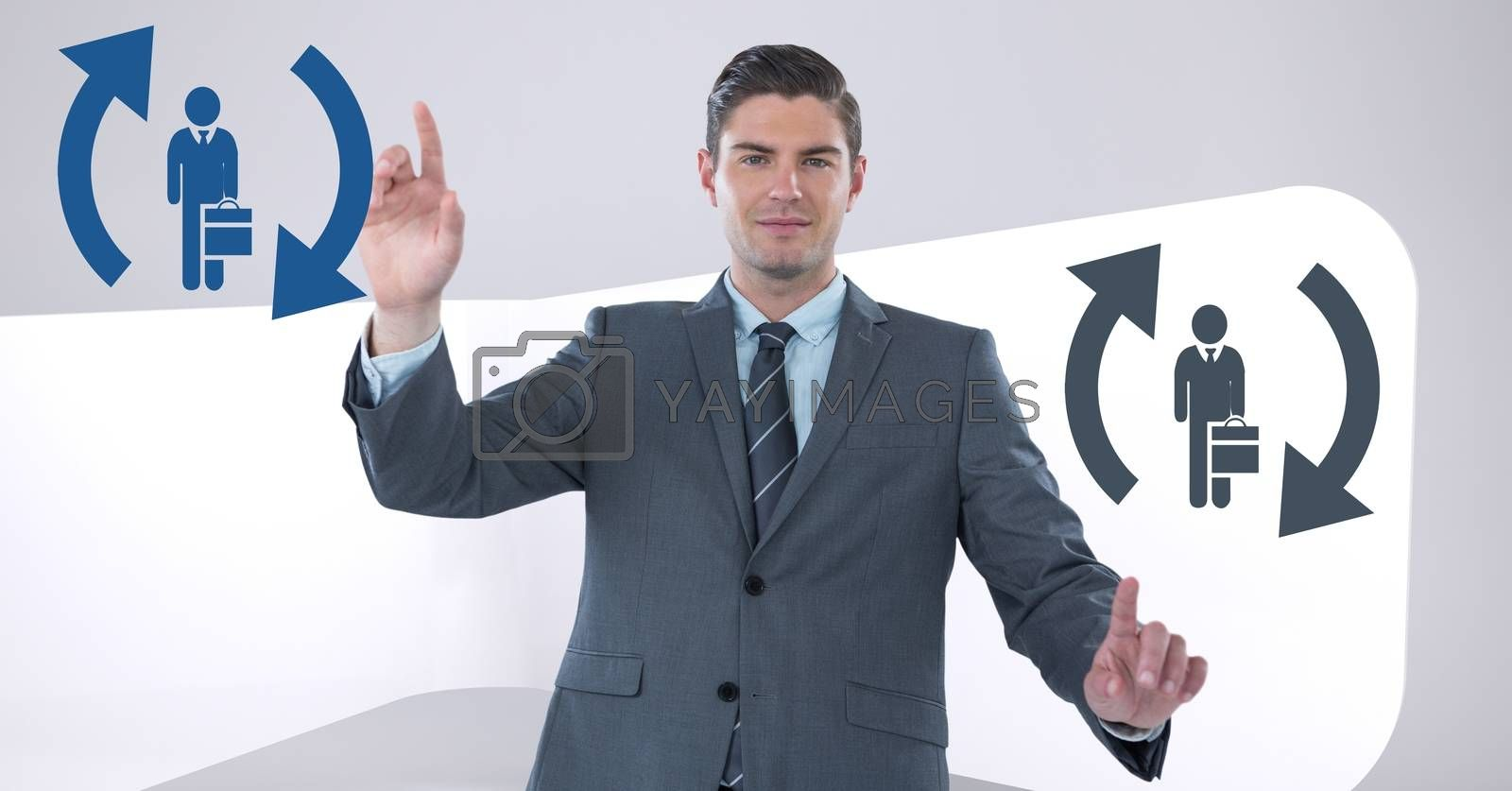 Digital composite of Businessman interacting and choosing a person from people icons with refresh symbols