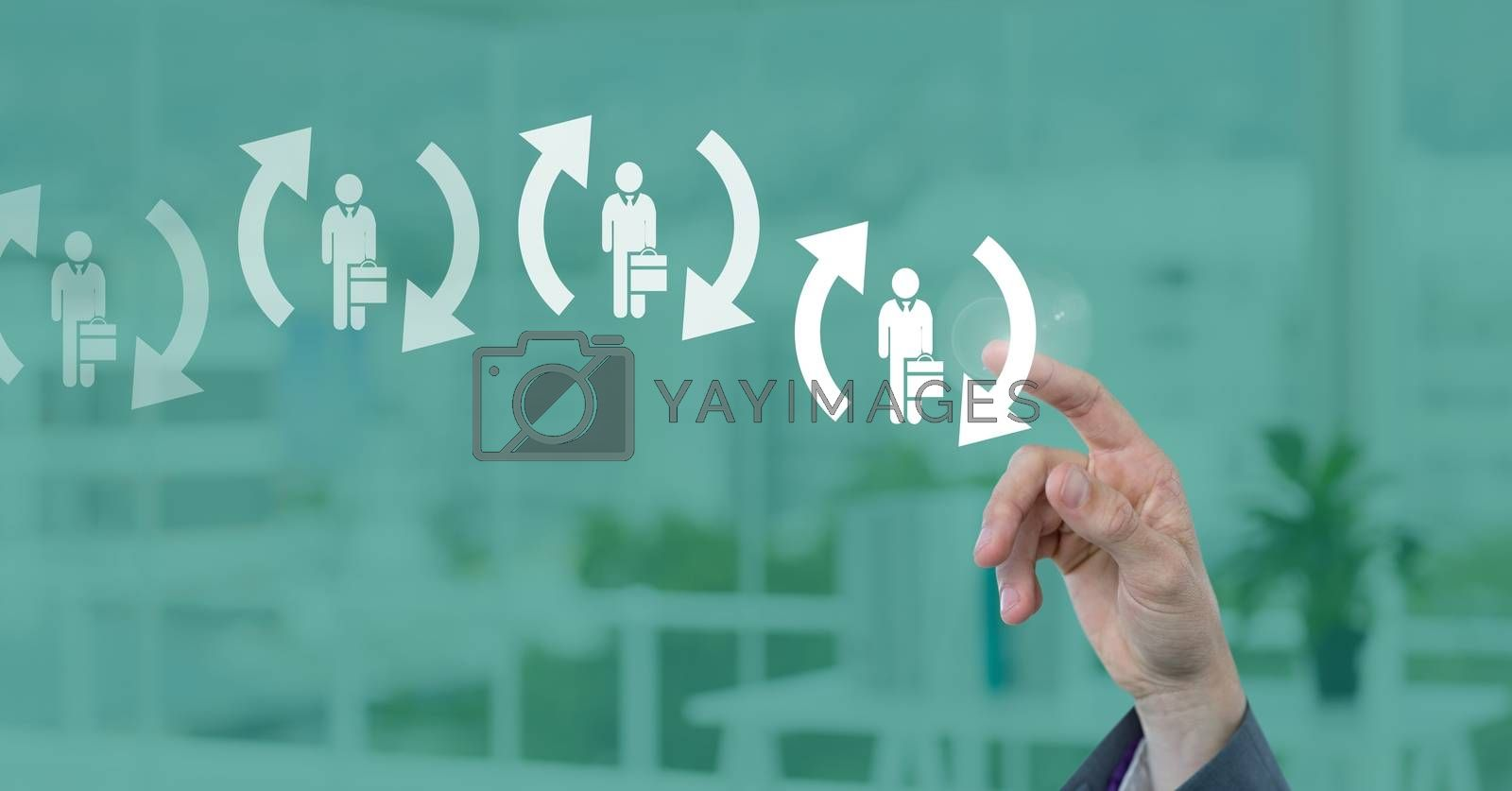 Digital composite of Businessman interacting and choosing a person from group of people icons with refresh symbol
